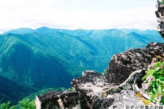 岩茸が密集している岩峰から望む十勝の山々
