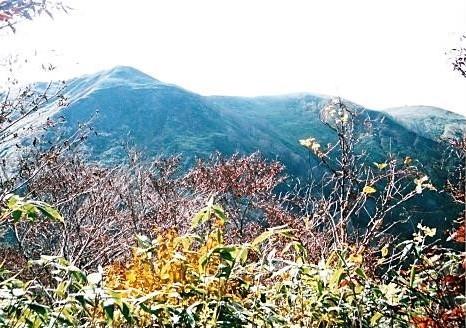 これから訪れる小安岳(左) 奥には高松岳も望める
