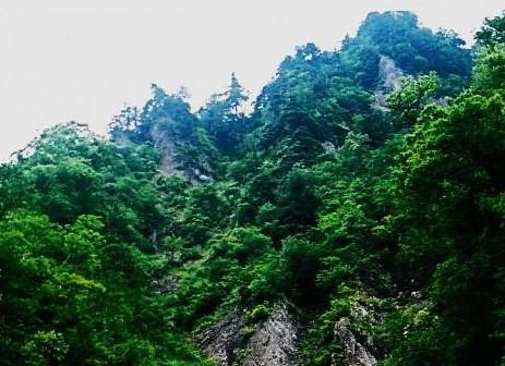 山頂の東側は削ぎ落ちた岩壁