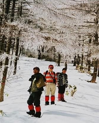クリオ犬の先導で樹氷の中
